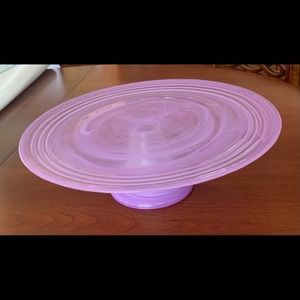 Purple painted glass cake stand 33 cm in diameter